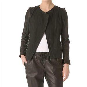 Vince Black Linen/Leather Jacket Size 2